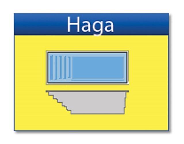 """San Juan glasfiberpoolen """"Haga"""" i extremt bra kvalitet och passar vårt svenska klimat utmärkt."""